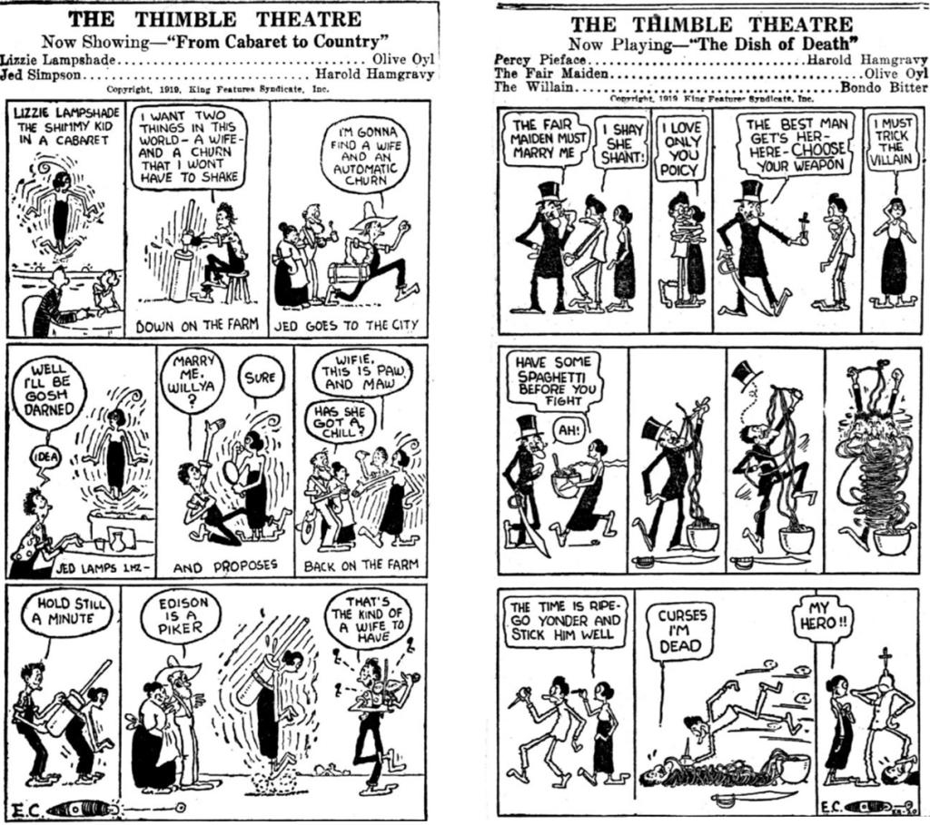 Ett par dagsstrippar med Thimble Theatre från 19-20 december 1919.