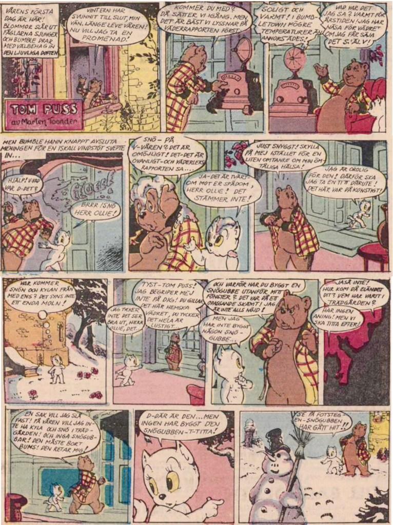 Inledande söndagssida ur 25:e episoden, från 13 juli 1958. ©STA