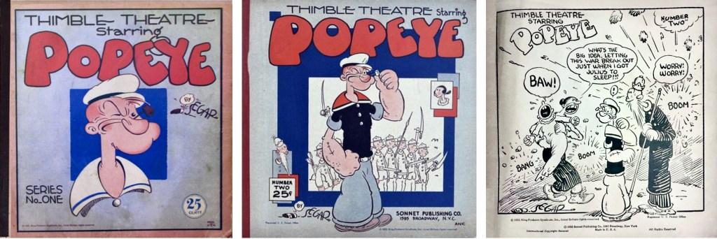 Omslag till Thimble Theatre Starring Popeye #1 och #2 (1931), och förstasida ur #2. ©Sonnet/KFS