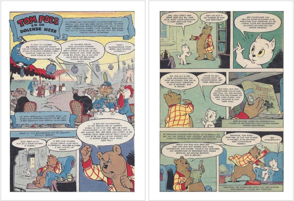 Inledande sidor i original ur den 66:e episoden, Tom Poes en de dolende heer, från 1958. ©STA
