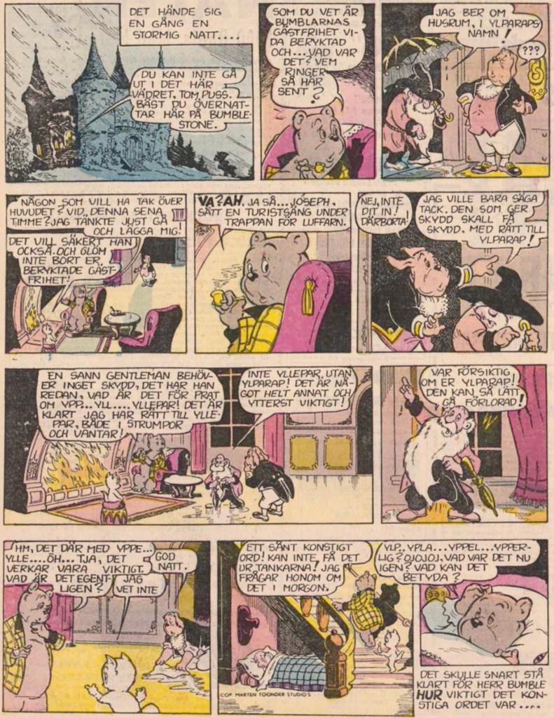 Inledande söndagssida ur nittonde episoden, från 23 september 1956. ©STA