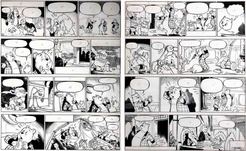 Original till ett par sidor ur den 85:e episoden, Tom Poes en de kleine Knappkop, från 1961-62. ©STA