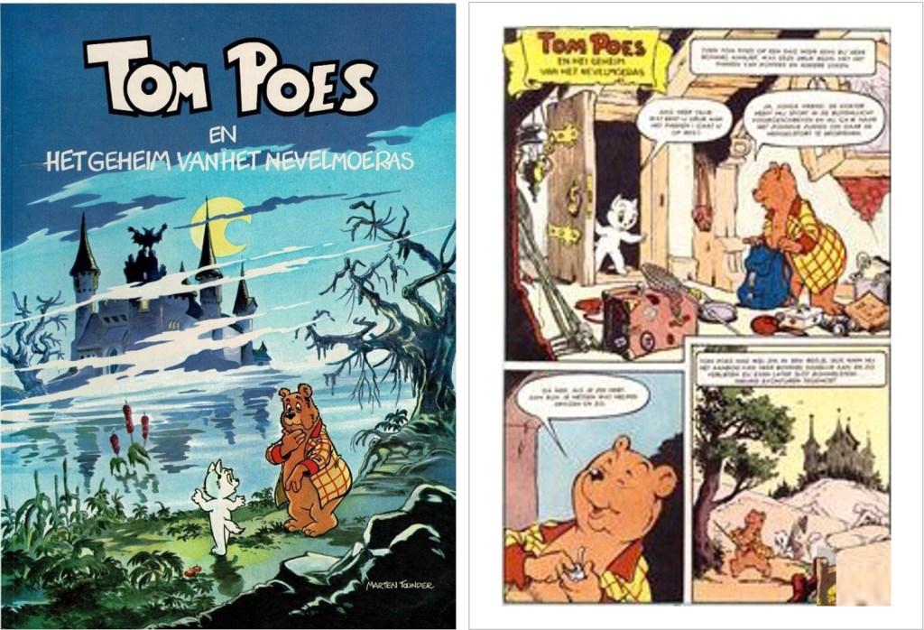 Omslag och en sida ur inledningen i original ur den 55:e episoden Tom Poes en het geheim van het Nevelmoeras, från en utgåva från 1957. ©STA