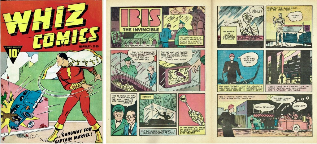 Ett inledande uppslag med Ibis the Invincible ur Whiz Comics #2 (1940). ©Fawcett