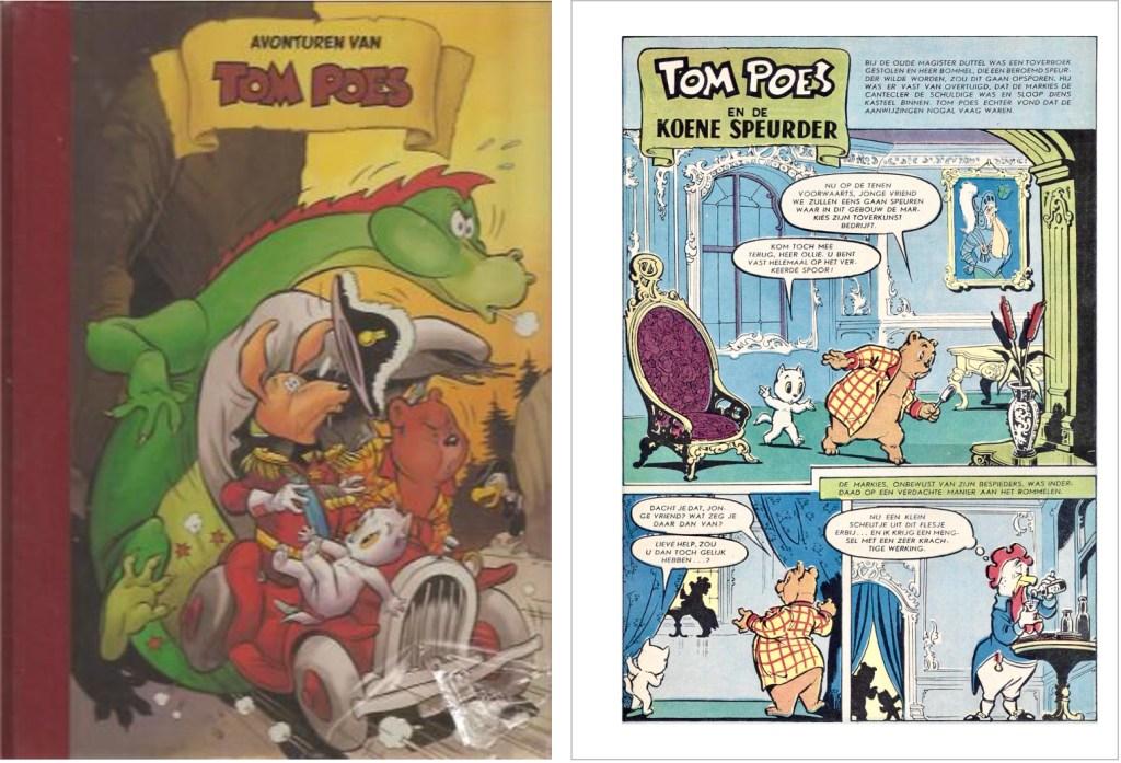 Omslag och en sida ur inlagan i original ur den 75:e episoden Tom Poes en de koene speurder, från 1960, ur en utgåva från 2003. ©STAo