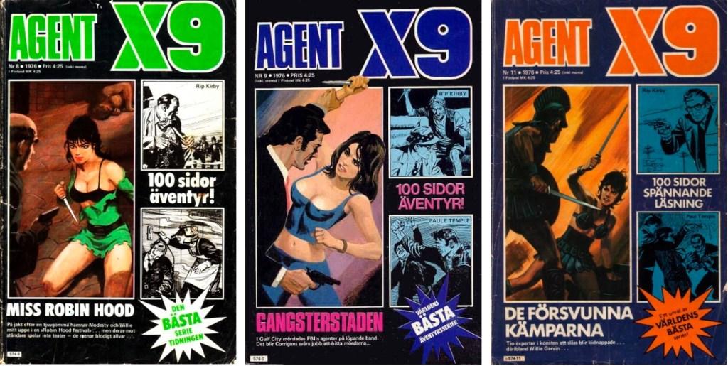 Omslag till Agent X9 nr 8, 9 och 11, 1976 med Paul Temple. ©Semic