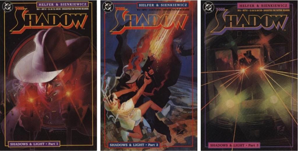 Omslag till tre första numren av The Shadow (Gäckande Skuggan), som utkom som magasin med 19 nummer (1987-89). ©DC