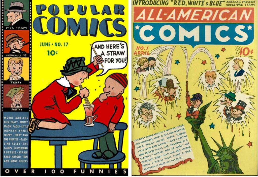 Omslag till Popular Comics #17 (1037) och All-American Comics #1 (1939). ©Dell/DC