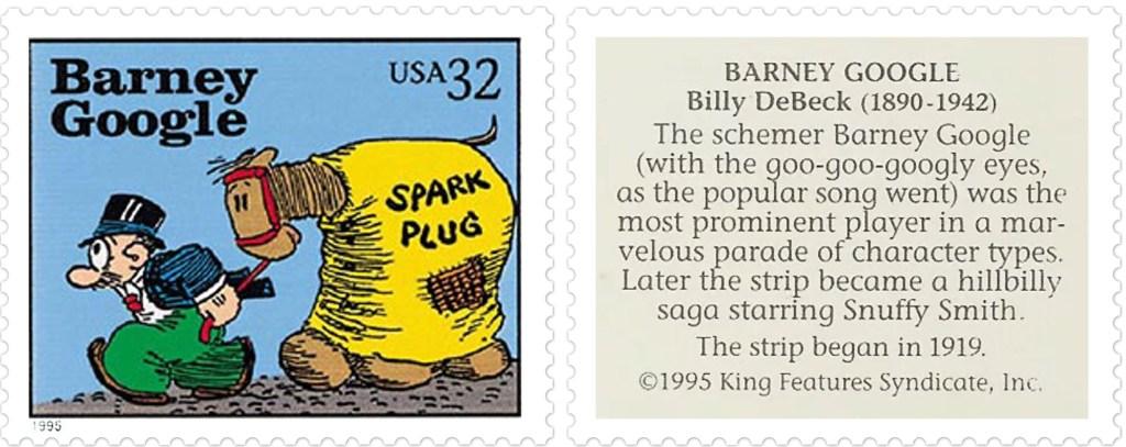 Frimärket Barney Google av Billy DeBeck (1890-1942). ©KFS