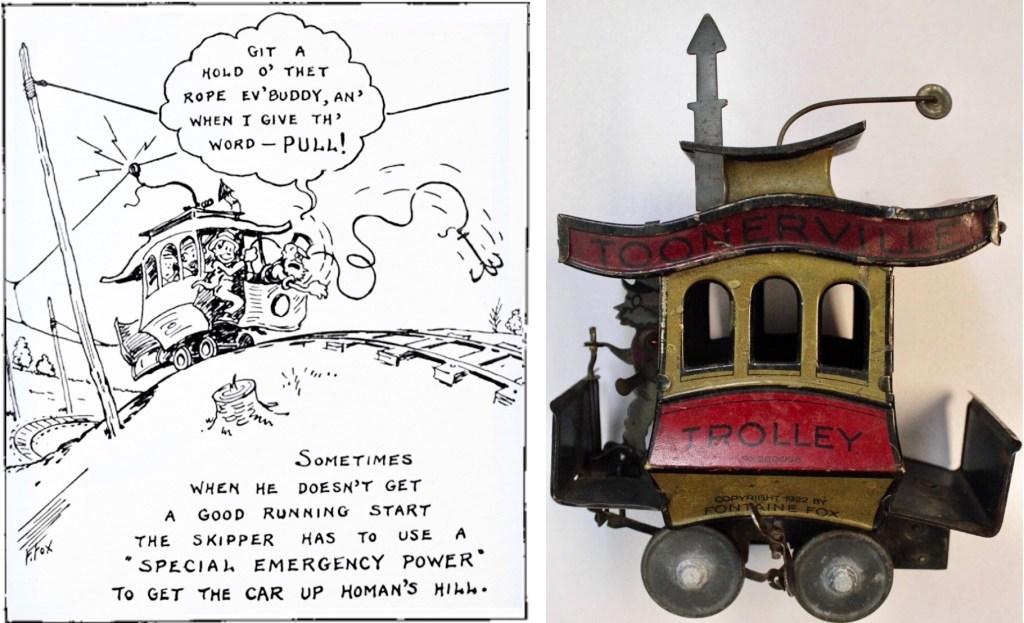 Skämtteckningen som låg som grund för frimärket, och en leksak baserad på titeln.