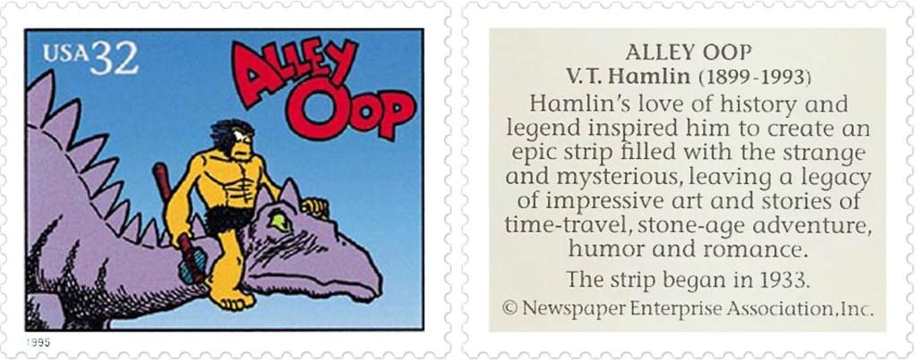 Comic Strip Classics-Frimärket med Alley Oop av V. T. Hamlin (1899-1993). ©NEA