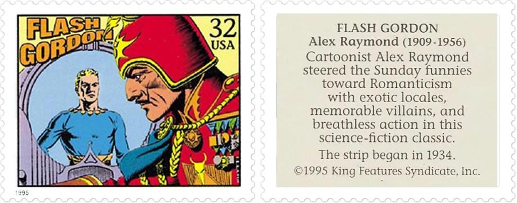 Comic Strip Classics-Frimärket med Flash Gordon av Alex Raymond (1909-56). ©KFS