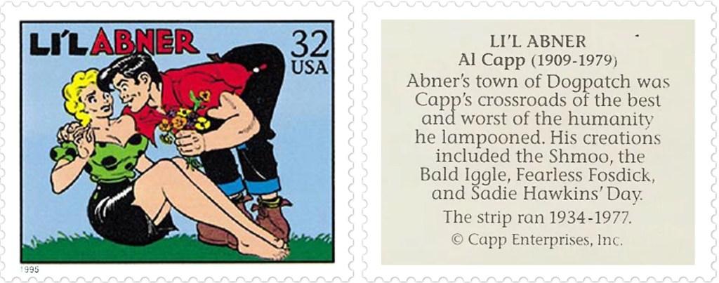 Frimärket med Li'l Abner av Al Capp (1909-79). ©Capp