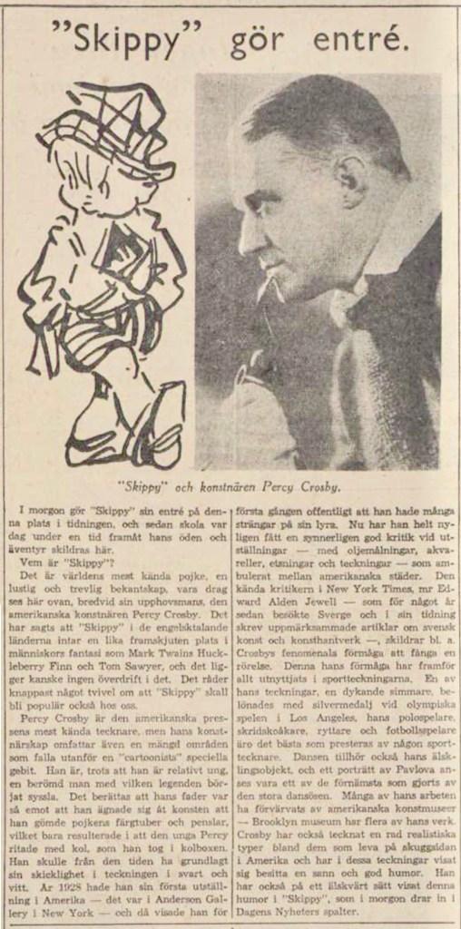 Introduktionen av Skippy från 19 juni 1934. ©DN