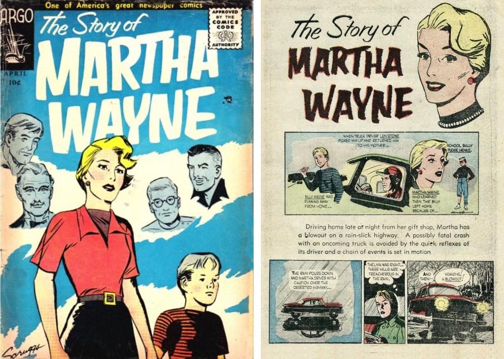 Omslag och inledande sida ur The Story of Martha Wayne #1 (1956). ©Argo/NEA
