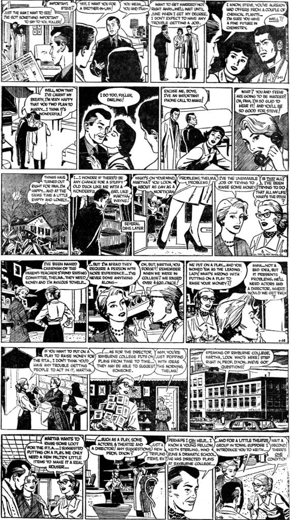 Dagsstrippar med The story of Martha Wayne, från 11-16 januari 1954, ©NEA