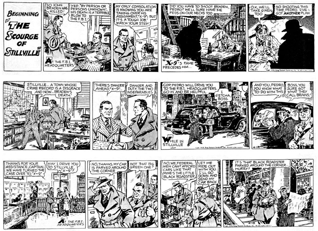 Inledande strippar ur den 24:e episoden, The Scourge of Stillville, den första tecknad av Afonsky, från 11-13 april 1938. ©KFS