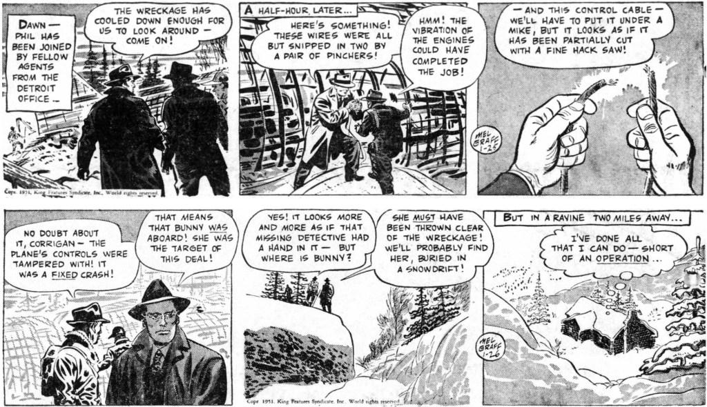 Motsvarande dagsstrippar i original, från 25-26 januari 1951. ©KFS