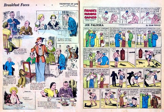 Ett uppslag ur till Famous Funnies #6 (1935). ©Eastern/Ledger/McNaught