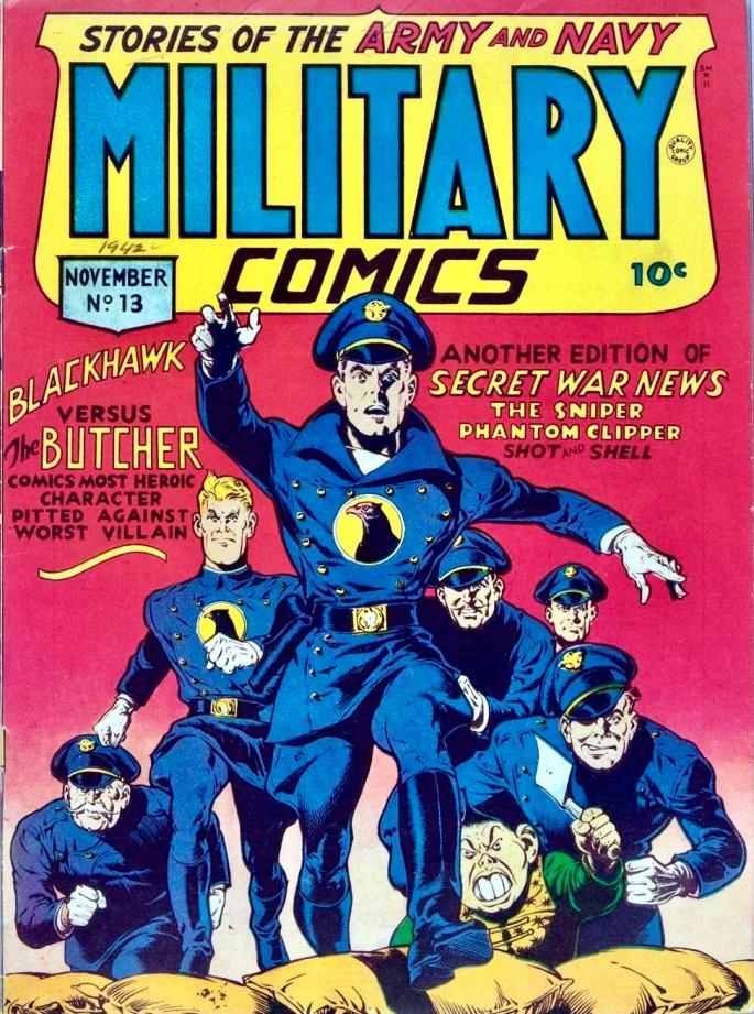 Omslag till Military Comics #13 (1942). Redan i #2 hade Blackhawk hökemblemet på bröstet. ©Comic Magazines