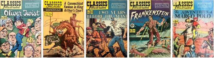 """De första fem utgåvorna från S. M. Iger Studio, en Comic Book """"Shop"""", som producerade nästan 100 utgåvor för Gilberton och Kanter. ©Gilberton"""