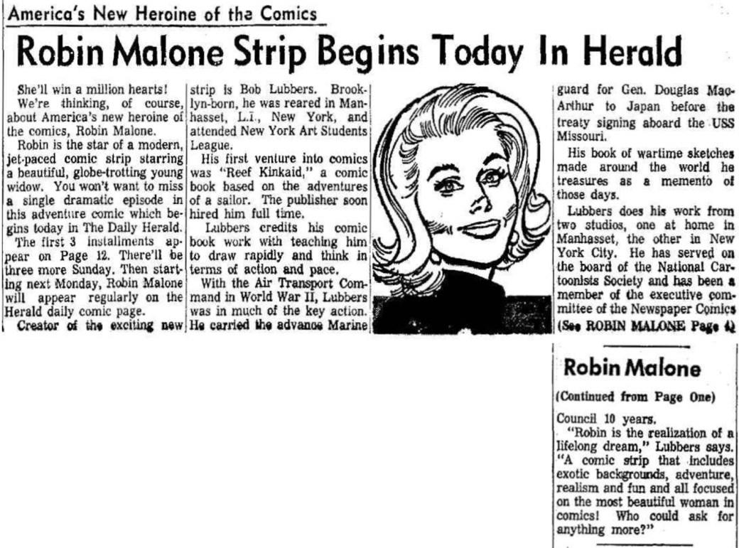 Artikel inför premiären av Robin Malone. ©Daily Herald