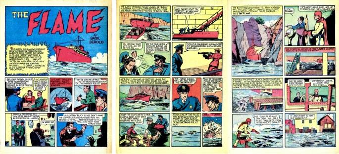 Inledningen till The Flame, ur Wonder Comics #3 (1939), inte samma seriefigur som The Flame i Wow, What a Magazine. ©Fox