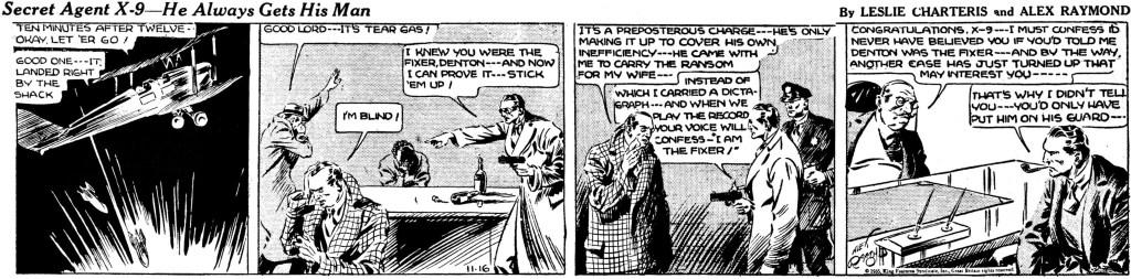 Sista dagsstrippen av Alex Raymond, från 16 november 1935. ©KFS