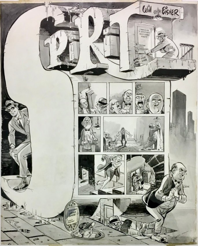 Original till inledande sida till The Spirit ur The New York Herald Tribune från 9 januari 1966. ©Eisner