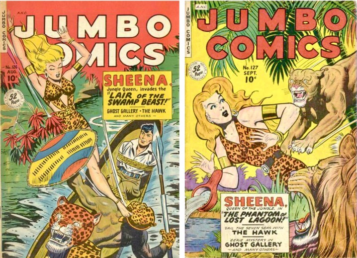 Från Jumbo Comics #126 till #127 (1949) fick Sheena en något mer täckande dräkt, sannolikt mot bakgrund av en begynnande diskussion om ungdomlig påverkan. ©Fiction House