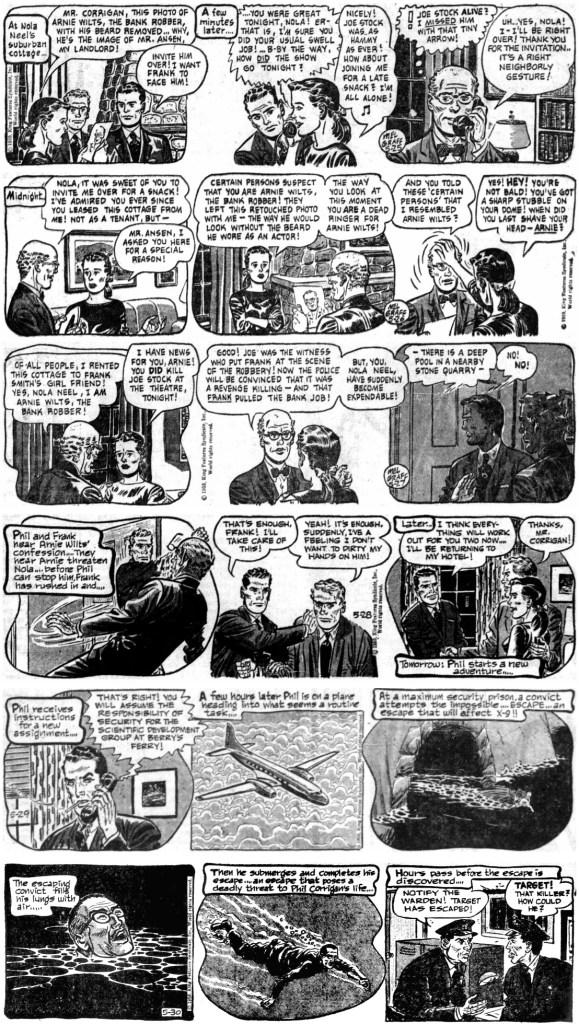 Avslutande veckan av den 158:eepisoden, Pirate Submarine, från 25-30 maj 1960, med sista stripparna av Graff och de första av Lubbers. ©KFS