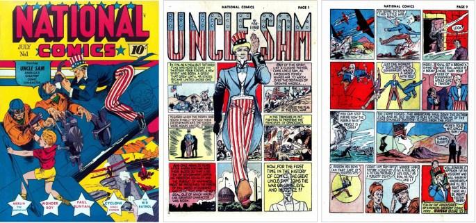 Omslag, förstasida och sista sida med serien Uncle Sam, ur National Comics #1 (1940). ©Quality