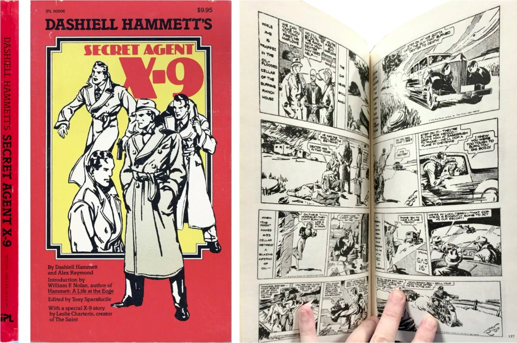 Omslag och ett uppslag ur Dashiell Hammett's Secret Agent X-9 (1983). ©Polygonics/KFS