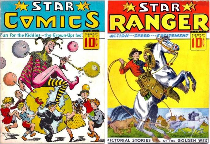 """Omslag till Star Comics #1 och Star Ranger #1 (1937). ©Chesler Comic Book """"Shop"""""""