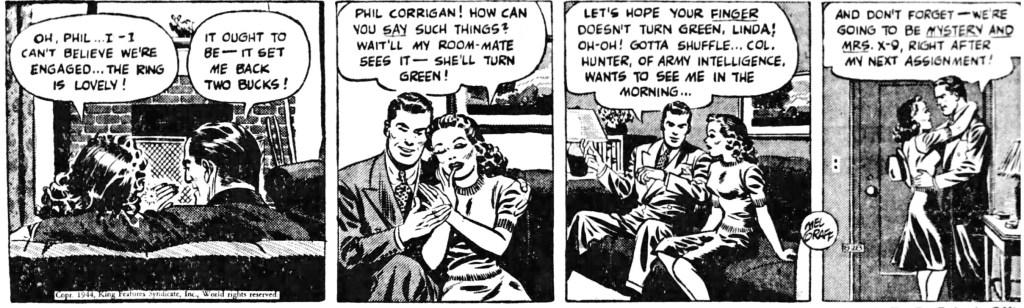Dagsstrippen av Mel Graff när han gjorde det klart för alla att X-9 i själva verket heter Phil Corrigan (en fästmö borde veta), från 28 augusti 1944. ©KFS