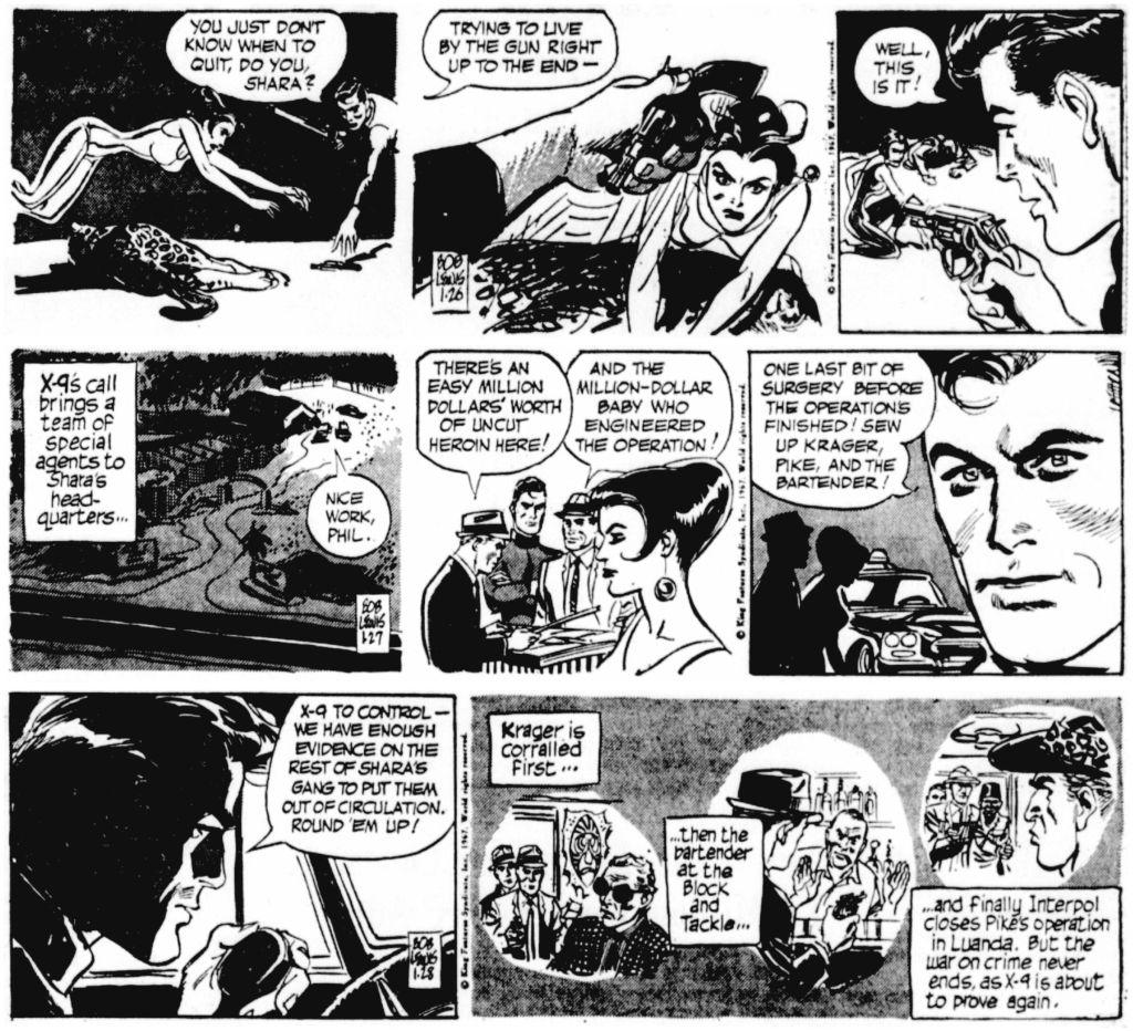 De sista stripparna av Lubbers, från 26-28 januari 1967, som avslutade den 105:e episoden, Operation Leopard. ©KFS