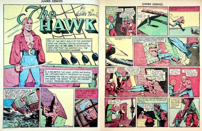 Inledningen till The Hawk ur Jumbo Comics #9 (1938), som var en direkt fortsättning av episoden i #8. ©Fiction House