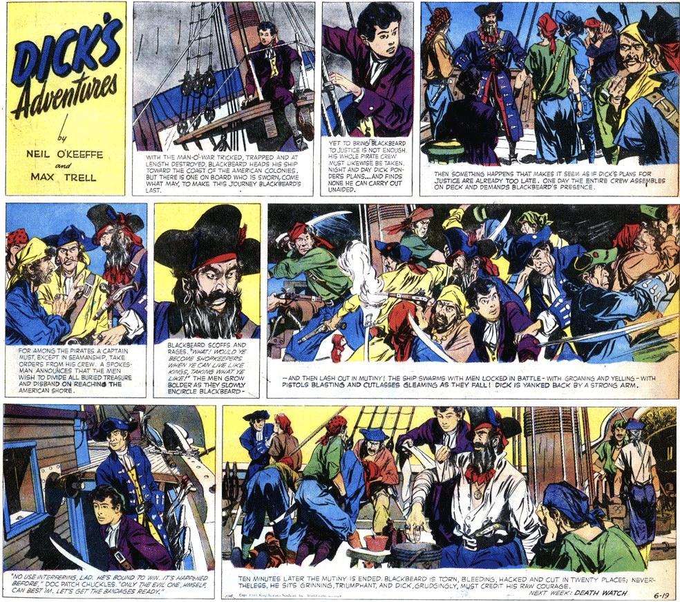 En söndagssida med Dick's Adventures av Max Trell och Neil O'Keeffe, från 19 juni 1949. ©KFS