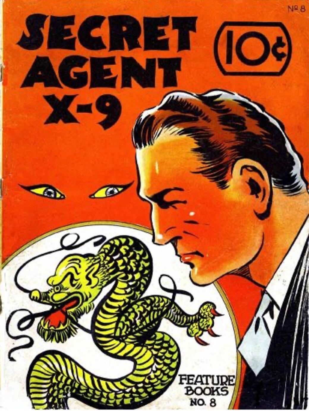Omslag till Feature Books #8 innehållande Secret Agent X-9. ©McKay