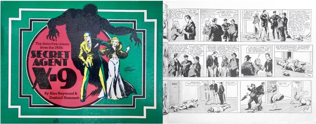 Omslag och en sida ur Secret Agent X-9 (1976). ©Nostalgia Press
