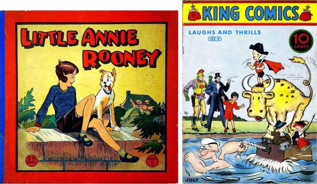 Omslag till Little Annie Rooney (1935) och King Comics #4 (1936). ©McKay