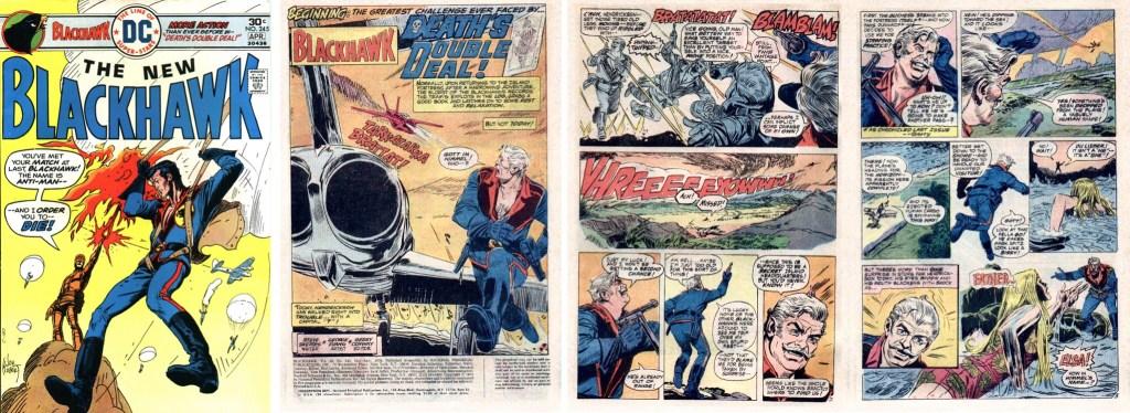 Omslag (av Joe Kubert) och inledande sidor med en serie av Steve Skeates (manus) och George Evans (teckningar) ur Blackhawk #245 (1976). ©DC