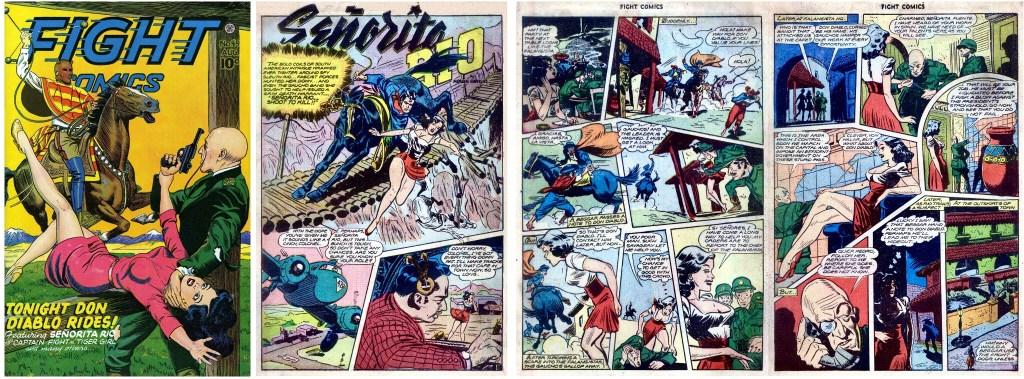 Omslag, och inledning till serien Señorita Rio, ur Fight Comics #45 (1946). ©Fiction House