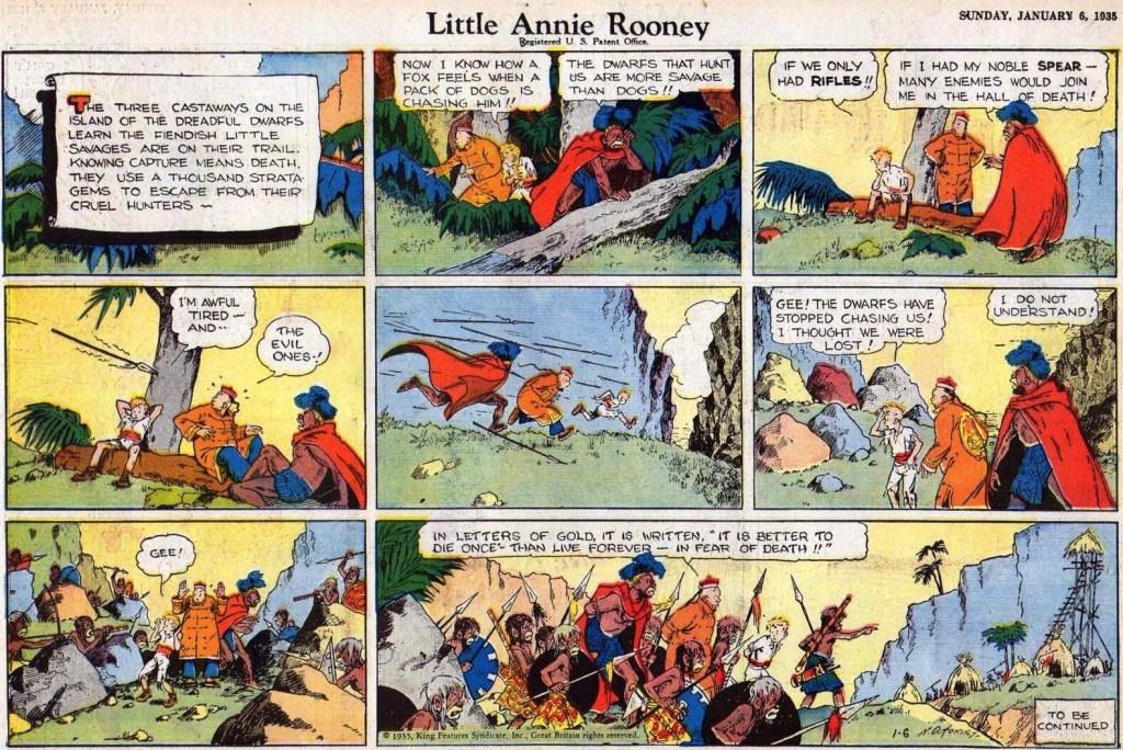En söndagsstripp med Little Annie Rooney, med Ming Foo, från 6 januari 1935. ©KFS