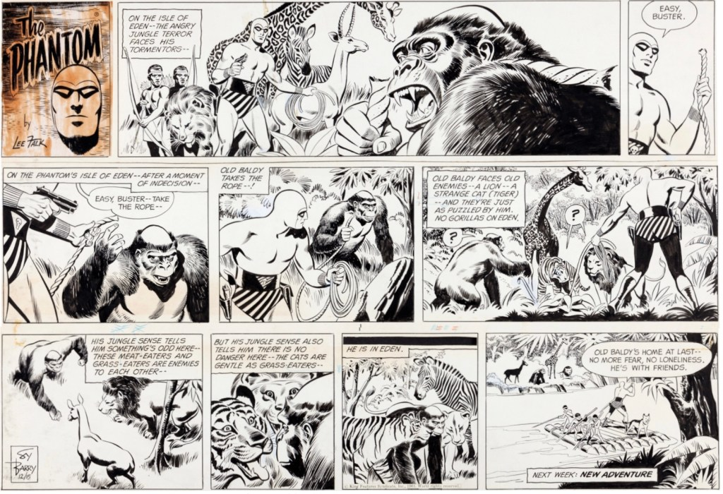 Original till en söndagsstripp med The Phantom av Sy Barry, från 15 december 1963. ©KFS