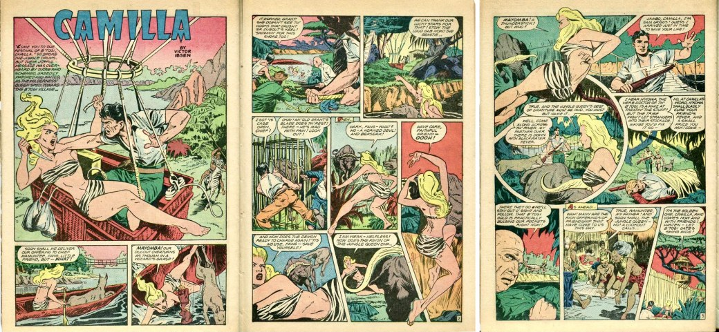 Inledande sidor till serien Camilla, ur Jungle Comics #100 (1948). ©Fiction House/Glen-Kel