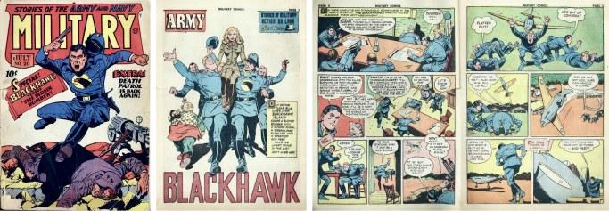 Omslag till Military Comics #20 (1943) och inledande sidor till Blackhawk. ©Quality/Comic Magazines