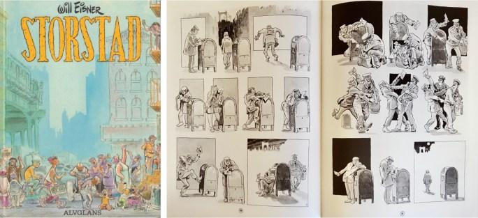 Omslag, och ett uppslag ur Storstad (1986). ©Alvglans/Eisner