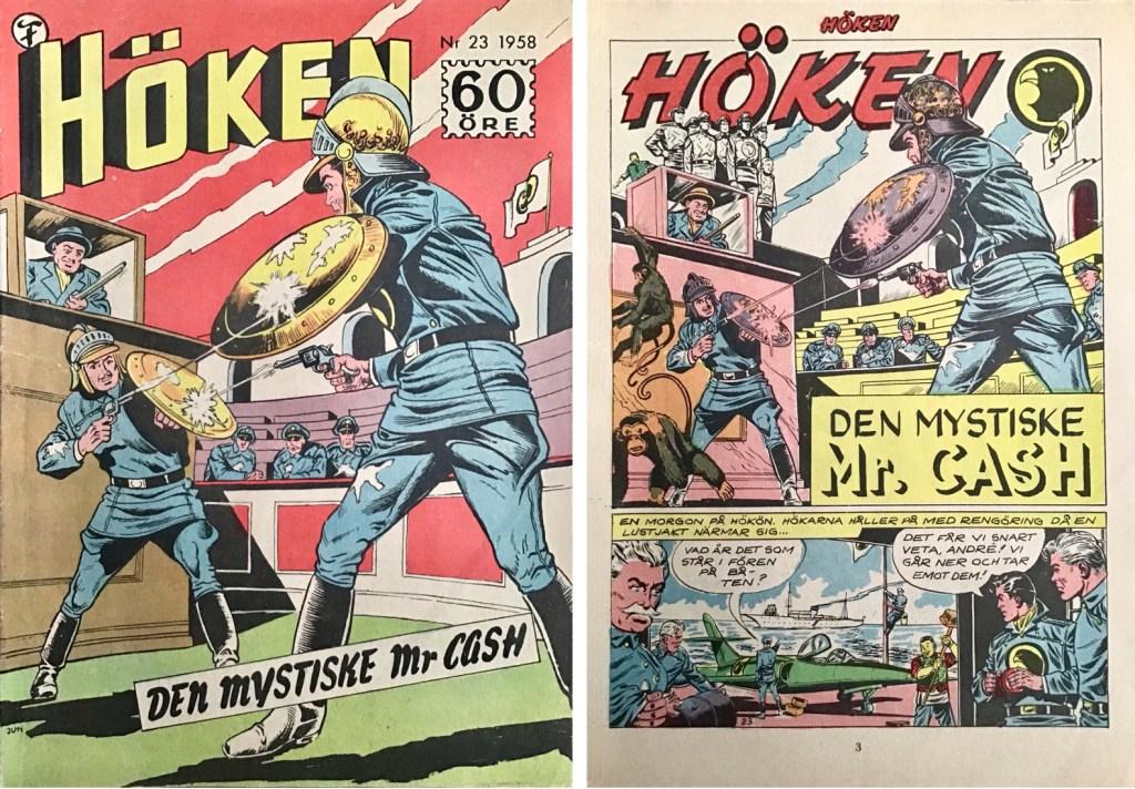 Omslag till Höken nr 23, 1958 och inledande sida ur Höken-serien. ©Formatic/EuropaPress