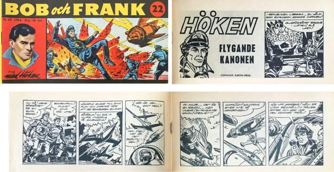 Omslag till Bob och Frank nr 22, 1954, och inledning till Höken-episoden Flygande kanonen. ©Serieförlaget/Europa-Press